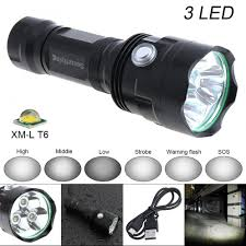 Securitying Lights Us 16 43 37 Off Hot Securitying Super Bright 3x Xm L T6 Led 2400lumens Waterproof Flashlight Torch With 6 Modes Light Support Usb Charging In Led