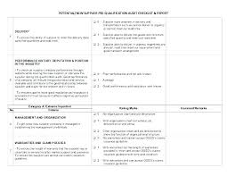 check list example template supplier audit checklist example vendor quality
