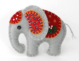 Elephant PDF pattern, Felt elephant ornament pattern, Elephant ...