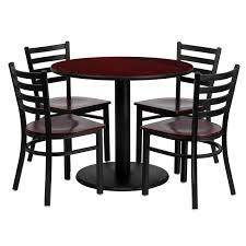 36 round mahogany laminate table set with 4 ladder back metal chairs mahogany wood seat md 0004 gg