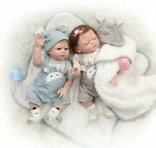 """20"""" Reborn Baby Twins Doll Boy and Girl Silicone <b>Full</b> Body <b>Real</b> ..."""