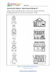 Community Helpers Chart Pdf Interesting Community Helpers Matching Worksheet Kids