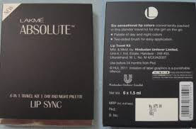 lakme absolute 6 in 1 travel kit day and night palette lip sync