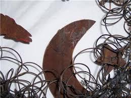 "IVAN BARNETT FOLK ART WIRED WREATH WOLVES MOON FEATHERS SANTA FE 22"" SGN  PEACOCK | eBay"