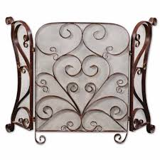 classic daymeion distress cocoa brown fireplace screen