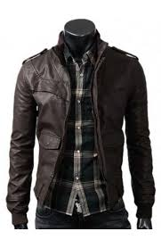 dark brown slim fitted leather jacket