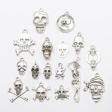 big 300pcs skull skeleton charms antique silver diy jewelry making pendant for fashion bracelet necklace