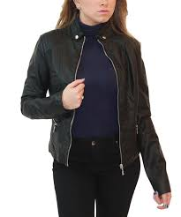 love this black faux leather biker jacket