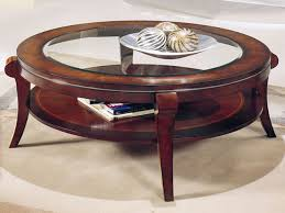 new round wood and glass coffee table round