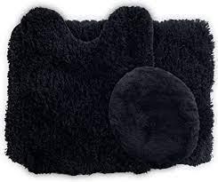 Amazon Com Lavish Home 3 Piece Super Plush Non Slip Bath Mat Rug Set Black Home Kitchen