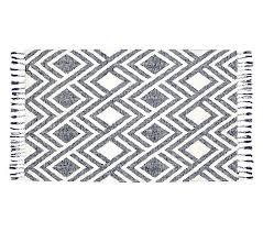 black and white kilim rug runner woven fringe boy