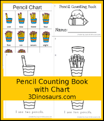 3 Dinosaurs Pencil Counting Book Chart