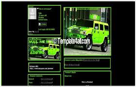 Green Layouts Dark Black Green Hummer Myspace Layout Download
