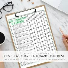 Kids Commission Chart Kids Chores Kids Allowance Jobs Kids Commission Earnings Kids Earn Money Help The Family Editable Pdf Instant Download