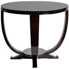 art deco style round table with walnut veneer for