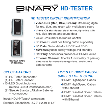 Cable Identification Chart Binary Hdmi Digital Cable Continuity Tester Manual
