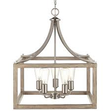 5 light brushed nickel chandelier with painted weathered gray wood accents