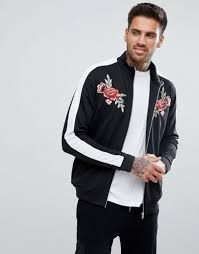 boohooman fl embroidered jacket with sleeve stripe in black black