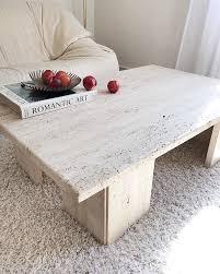 beautiful honed travertine marble table
