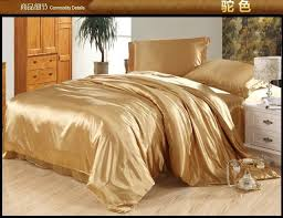 Camel tan silk bedding set satin sheets queen full quilt duvet ... & Camel tan silk bedding set satin sheets queen full quilt duvet cover super  king size bed Adamdwight.com
