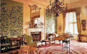 The drawing room - the wallpaper is 18th Century hand-painted Chinese. The  carpet is Aubusson and came from the Palace of Versailles.