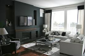 Living Room Color Schemes Gray Dark Gray Paint Color Scheme With Cozy White Sofas Living Spaces