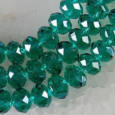 100 pcs 4 x 6 mm faceted dark green crystal gemstone abacus loose beads