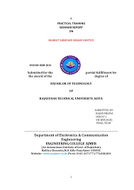 Training Report Cover Page New Final Bsnl Training Report