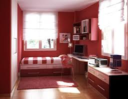 living room with bed:  red nuance design a room with bed and white curtain and window red carpet