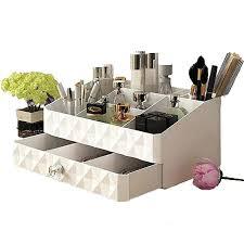 white marble makeup organizer wooden