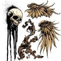 Izolované Vektor Tattoo Prvky Vintage Svitek Křídla Lebka P