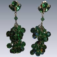 emerald green crystal larry vrba dangling chandelier earrings 3 inch