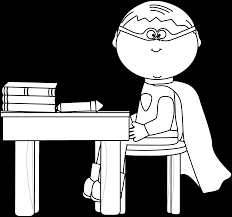 desk clipart black and white. black and white boy superhero at school desk clipart