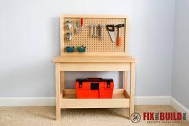 workbench pegboard ideas. a kids workbench with pegboard and shelf. ideas w