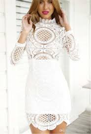 High Quality Casual Dresses Women Lace Dress Ladies White Long