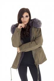 whole womens celebrity colour grey faux fur hooded parka jacket pack of 4