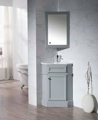 Stufurhome Hampton Grey 27 Inch Corner Bathroom Vanity with