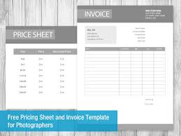 Photography Invoice Template Psd Free Pricing Sheet And Invoice ...