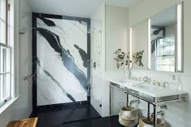 Cw Design Llc Stunning Master Bath With Marble Slab And Console Vanity