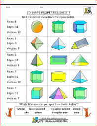 3d Shapes Edges Vertices And Faces Chart Printable 3d Shape Worksheets Properties 7 Faces Edges And