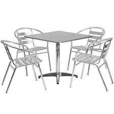 31 5 square aluminum indoor outdoor table set with 4 slat back chairs