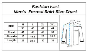 Mens Formal Shirts Size Chart Coolmine Community School