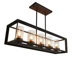 rectangular ceiling light. Rustic Kitchen Island Rectangular Pendant Chandelier, Antique Copper Finish Ceiling Light