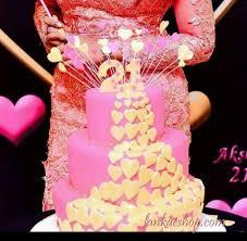 21st 3 Tier Birthday Cake With Hearts Design Sri Lanka Online