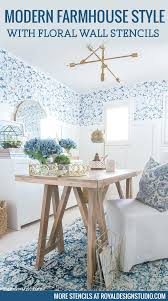 office blue. Blue And White Modern Farmhouse Style Home Office Makeover With Flower Wall Stencils Royal Design