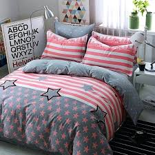 hipster bedspreads blush pink gray and white vintage flag star rugby stripe print teen girls twin full size cotton bedding sets