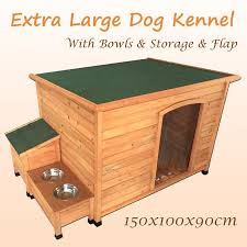 xl weatherproof timber wooden pet dog kennel house storage bowls flap