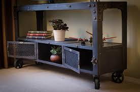 industrial media furniture. custom industrial media cabinet with 5 x 114 vintage black cast iron swivel caster furniture n