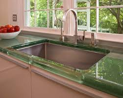 fauset sink recycled glass countertops