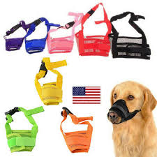US <b>Pet Adjustable</b> Anti Bark Bite Train Mask <b>Mouth Muzzle Dog</b> Stop ...
